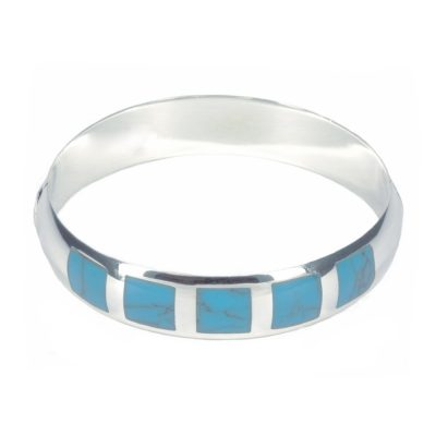 Turquoise Embedded Silver Bangle