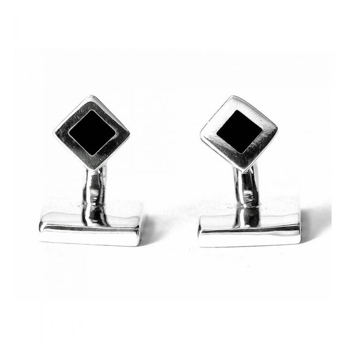 Square silver cufflink with onyx stripe design and solid fastener