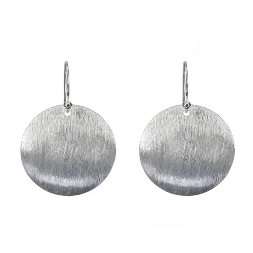 Silver Brushed Disk Earrings