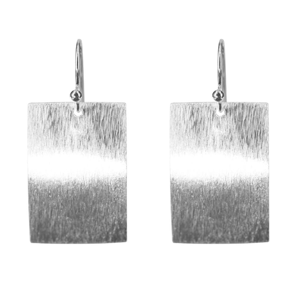 Silver Brushed Rectangle Earrings