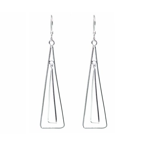 Silver Wire Triangle Earrings
