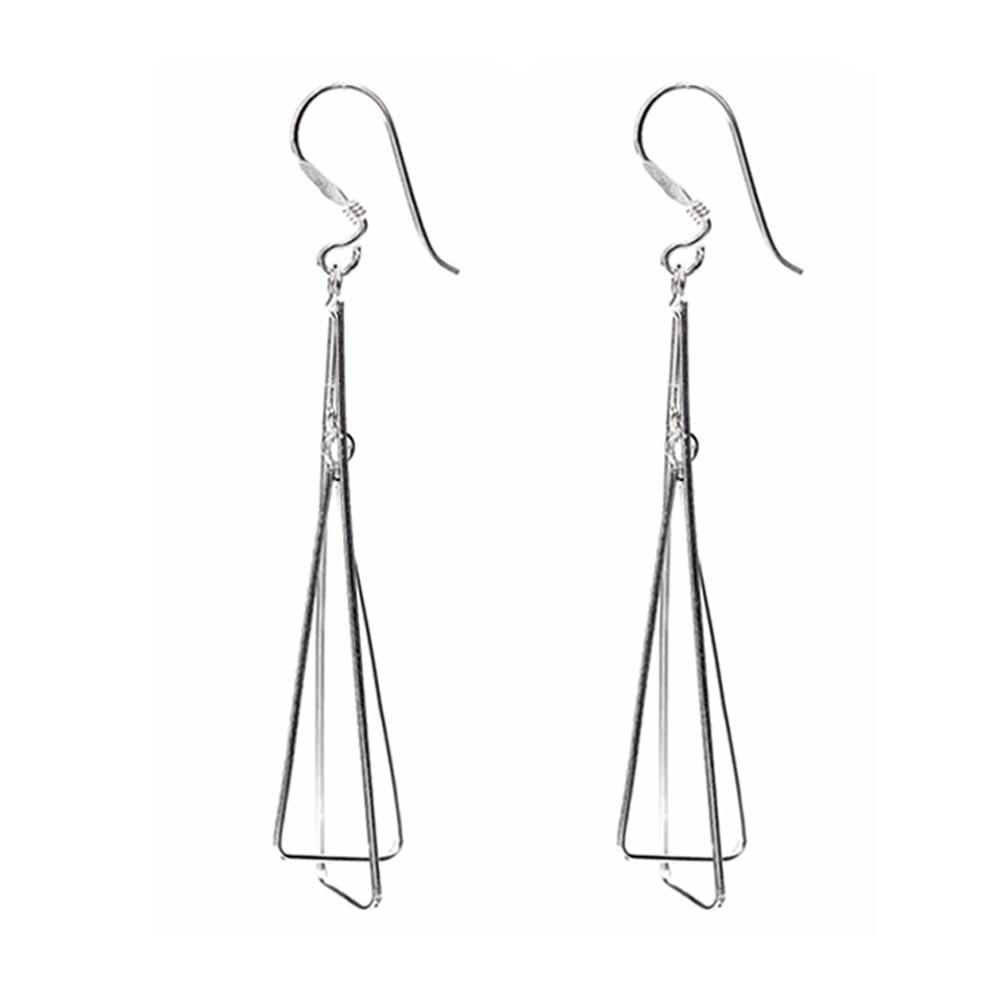 Silver Wire Triangle Earrings