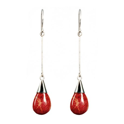 Red Coral Drop Earrings