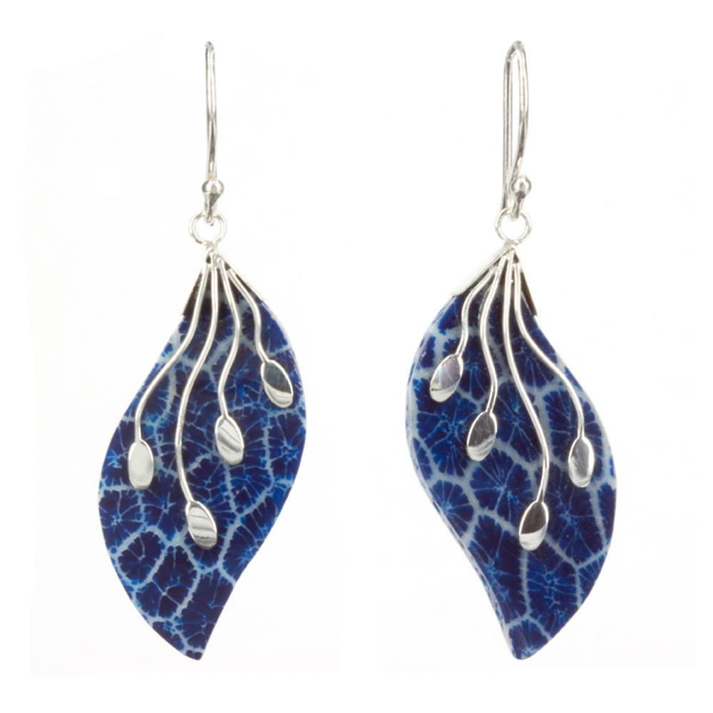 Blue Coral Leaf Earrings