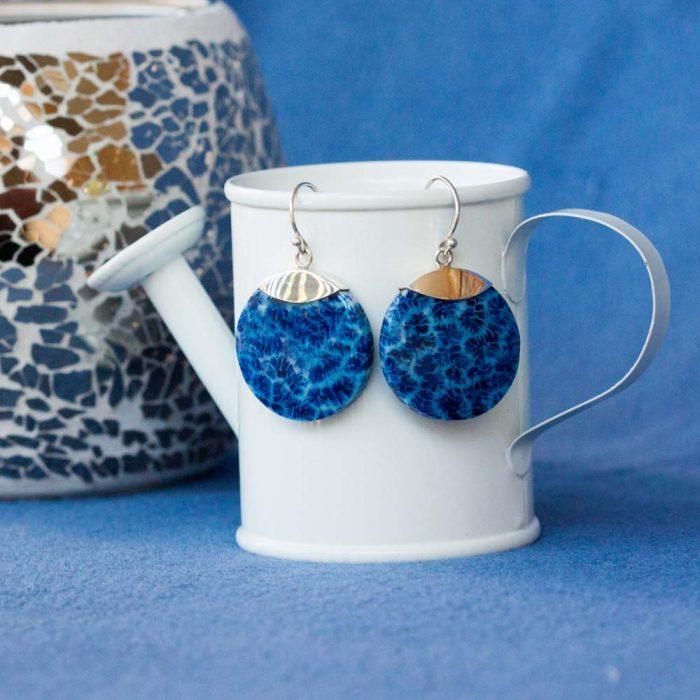 Blue Coral Disk Earrings