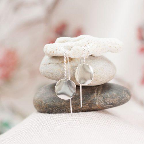 Silver disk & chain earrings