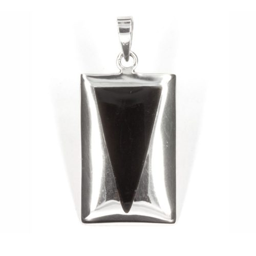 Silver Triangle Onyx Pendant