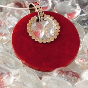 Red Coral Disk Pendant