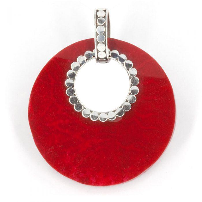 Red Coral Circle Pendant