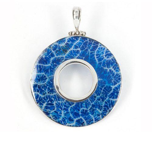 Blue Coral Circle Pendant