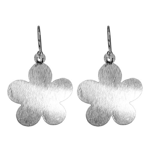 Brushed Silver Flower Earrings