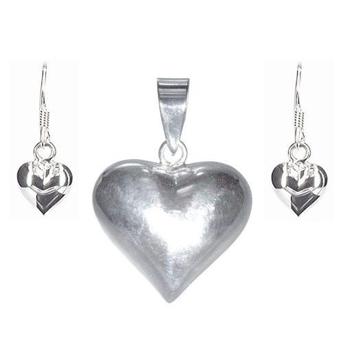 Silver Heart Pendant & Earrings