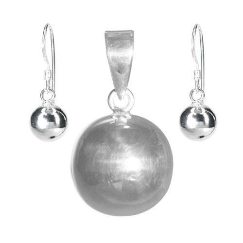 Silver Ball Pendant & Earrings