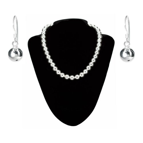 Polished silver ball necklace and earrings