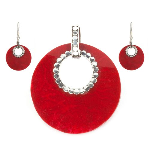 Red Coral Circle Pendant & Earrings